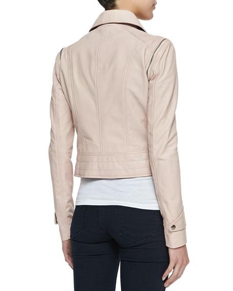 Asymmetric Zip-Sleeve Convertible Moto Jacket/Vest, Pale Pink
