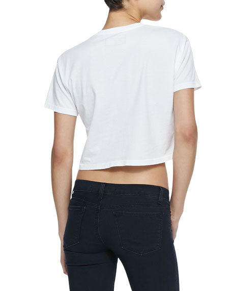 Short-Sleeve Flamingo Crop Top