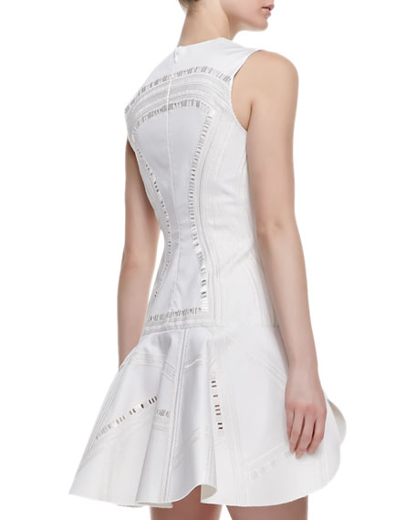 Kuba Embroidered Mesh Dress, White