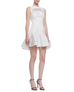 Robert Rodriguez Kuba Embroidered Mesh Dress, White