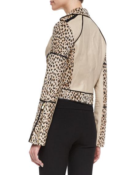 Theodora Cheetah Jacket with Trim, Carmel/Pearl Black