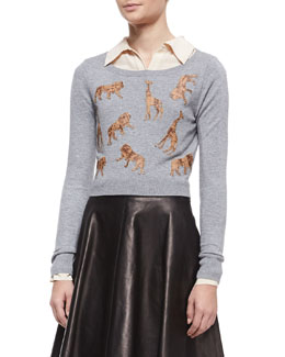 Diane von Furstenberg Praia Long-Sleeve Animal Silhouette Cropped Sweater, Heather Gray/Cork