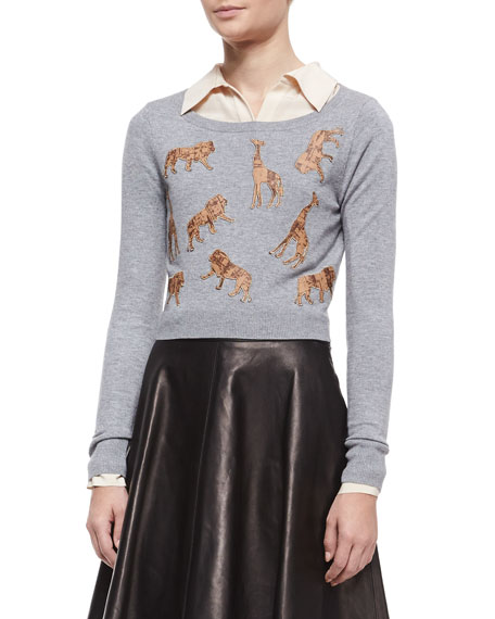 Praia Long-Sleeve Animal Silhouette Cropped Sweater, Heather Gray/Cork