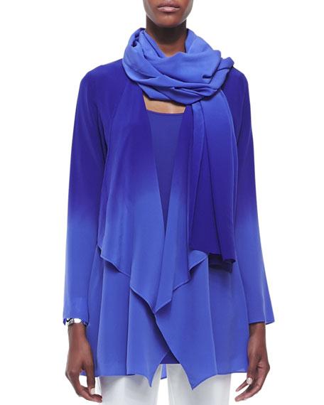 Ombre Silk Crepe Scarf, Blue Violet