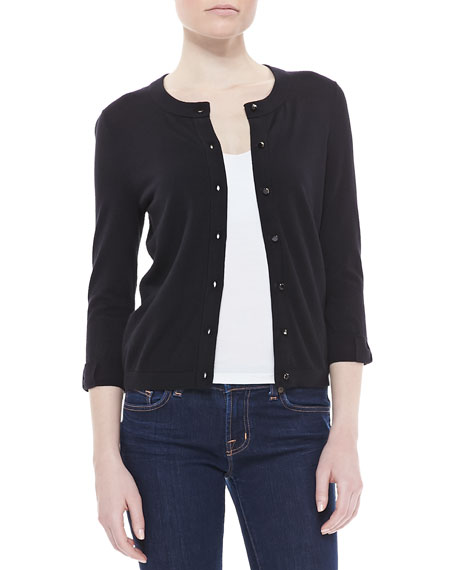 somerset button-down cardigan, black