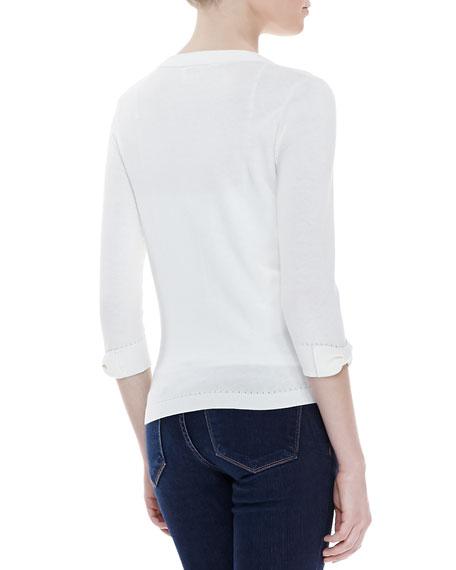 somerset button-down cardigan, cream