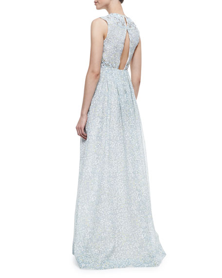 Marilyn Bead-Embellished Printed Silk Gown