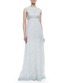Tory Burch Marilyn Bead-Embellished Printed Silk Gown
