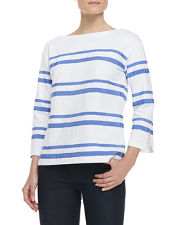 Tory Burch Kendall Cotton Ribbon-Stripe Top