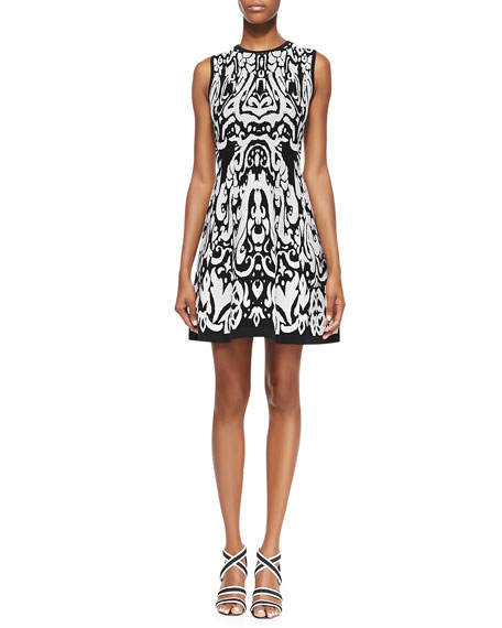 Beck Sleeveless Ikat-Print Dress, Black/White