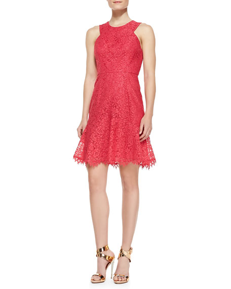Eden Sleeveless Lace Dress, Watermelon