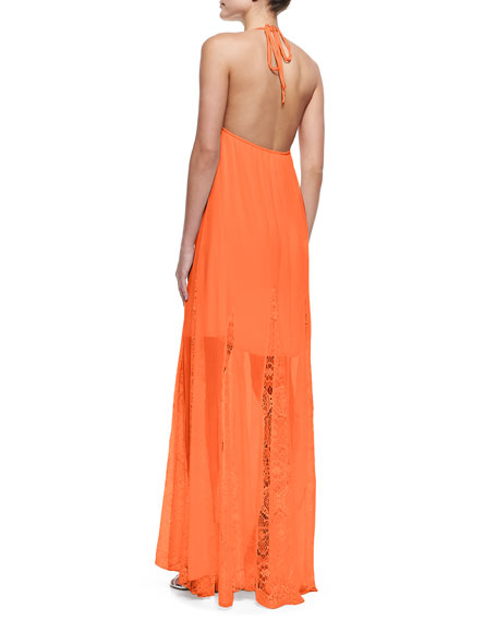 McBain Lace-Stripe Maxi Dress