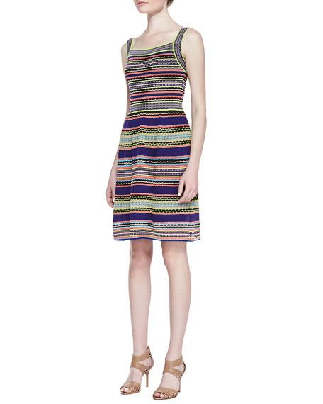 Ribbon-Stripe Knit Tank Dress