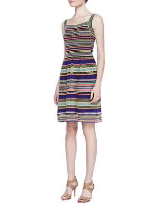 Ribbon-Stripe Knit Tank Dress