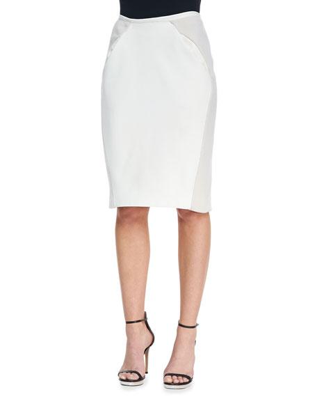 Slim Paneled Leather Skirt