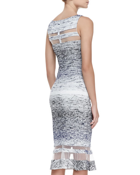 Sleeveless Illusion Ring Dress, Navy/White