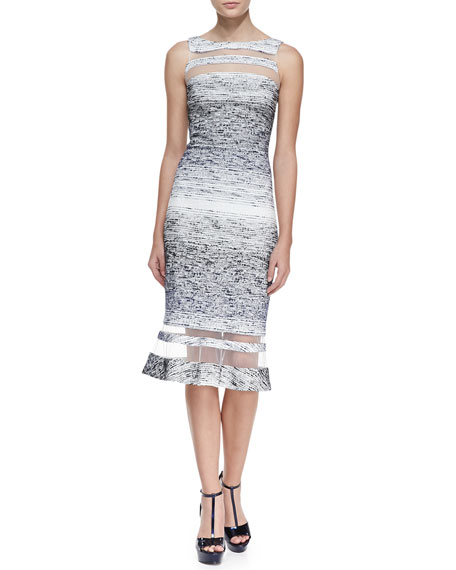 Sleeveless Illusion Ring Dress, Navy/White