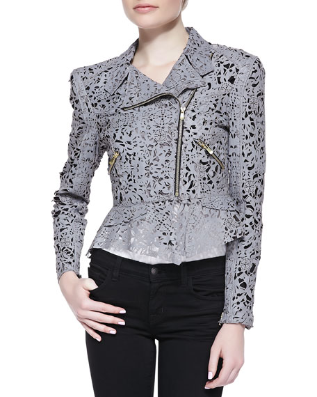 Eva Cutout-Leather Peplum Jacket