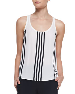 Theory Isaac Striped Georgette Tank