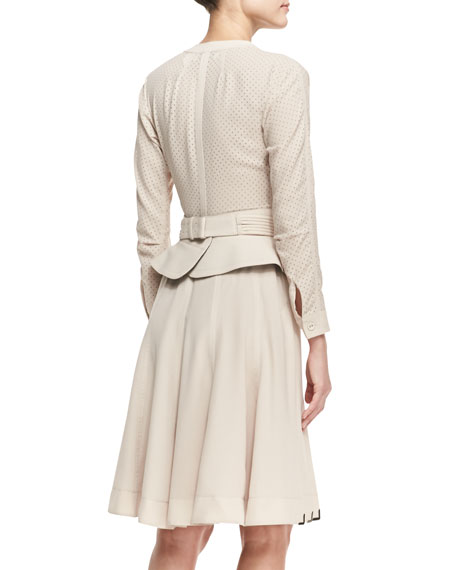 Long-Sleeve Mixed-Media Belted Dress, Beige