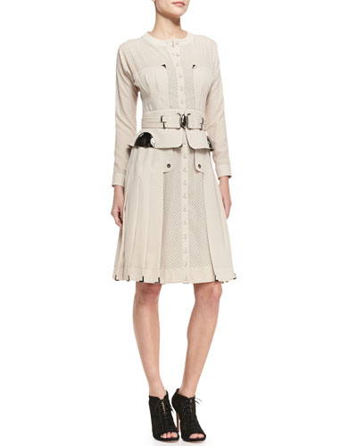 Byron Lars Beauty Mark Long-Sleeve Mixed-Media Belted Dress, Beige