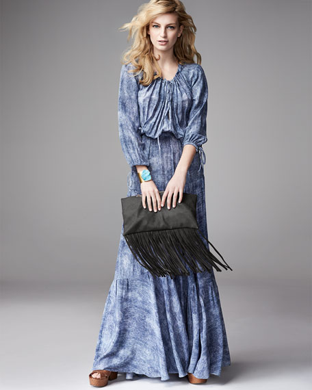 Denim-Print Drawstring Maxi Dress