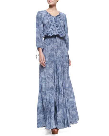 Denim-Print Drawstring Maxi Dress