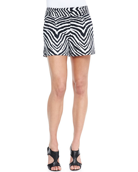 Zebra-Print Relaxed Twill Shorts