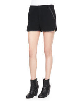 Rag & Bone Platini Leather-Trim Shorts