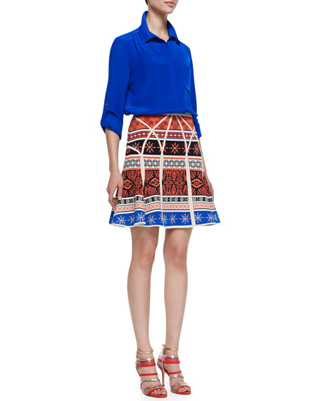 Samara Desert Bands Print Fit-and-Flare Skirt, Multicolor