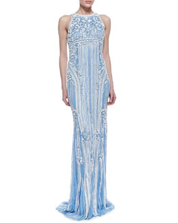 Theia by Don O'Neill Sleeveless Sequined Deco-Patterned Gown, Sky Blue