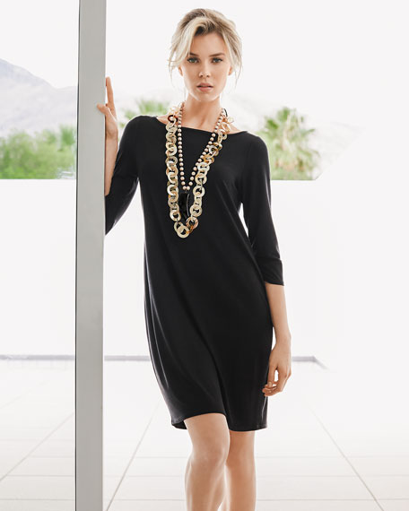 Washable 3/4-Sleeve Short Jersey Dress