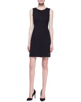kate spade new york sleeveless beaded-neck sheath dress, black