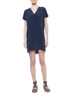 Vince V-Neck Short-Sleeve Silk Dress
