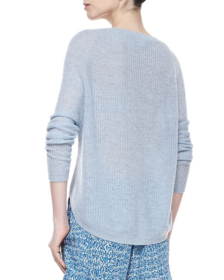 Lightweight Loose Cashmere Sweater, Chambray