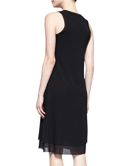 Sheer-Trim Jersey Dress
