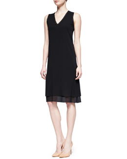Vince Sheer-Trim Jersey Dress