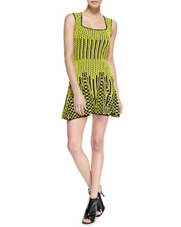 RVN NYC Sleeveless Chevron Fit-and-Flare Dress