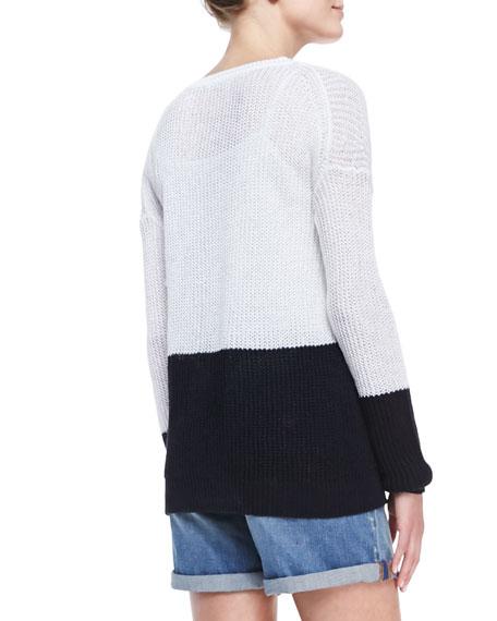 Drop-Shoulder Colorblock Sweater, Optic White/Coastal