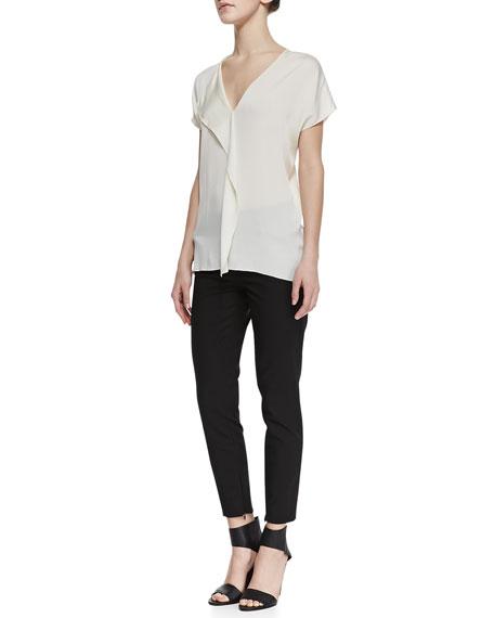 Slim Cropped Zipper-Cuff Pants, Black