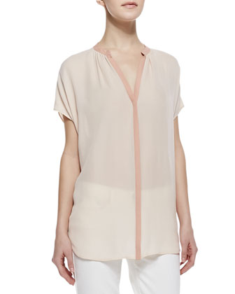 Two-Tone Short-Sleeve Silk Blouse