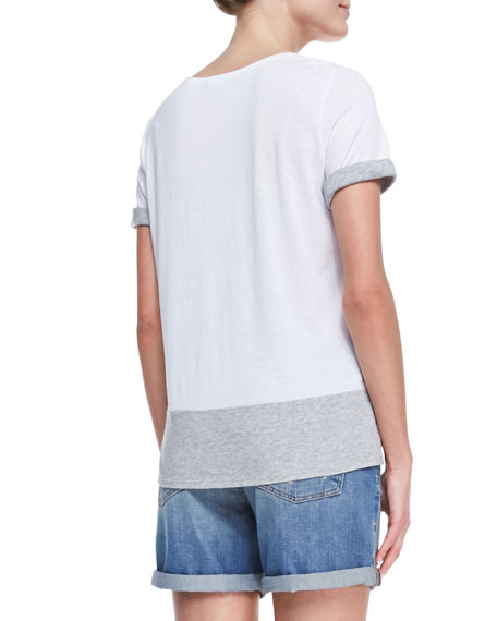 Short-Sleeve Colorblock T-Shirt, White/Gray