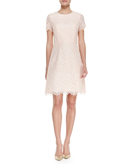 Short Sleeve Petal Lace Cocktail Dress, Petal Pink