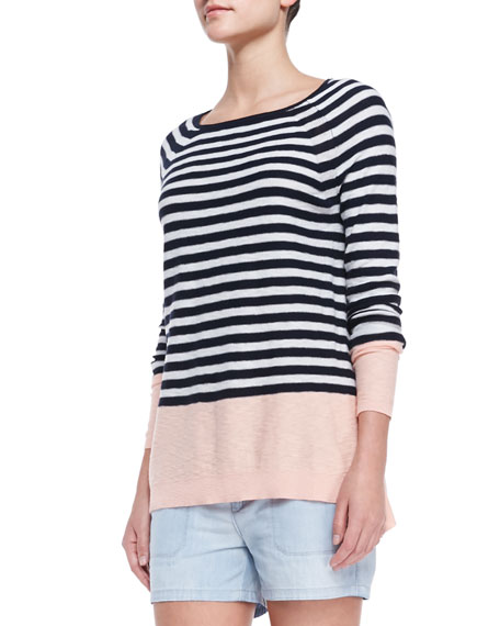 Colorblock Striped Sweater, Grapefruit