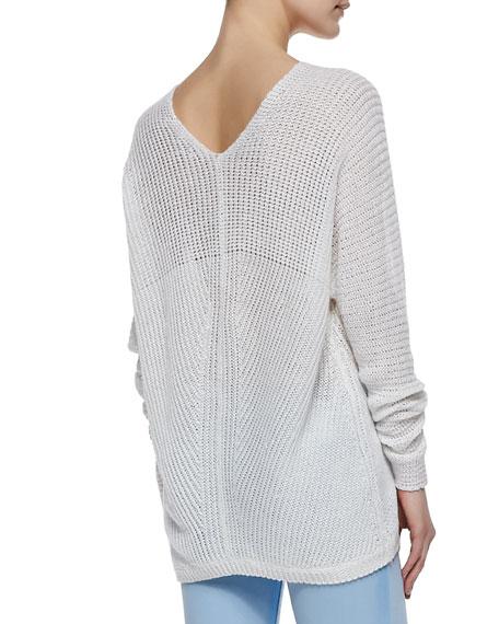 Stitched-Knit V-Neck Sweater