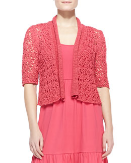 Joan Vass Tape-Yarn Knit Cardigan, Petite