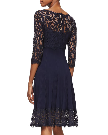 3/4-Sleeve Pleated Lace Cocktail Dress, Royal Navy
