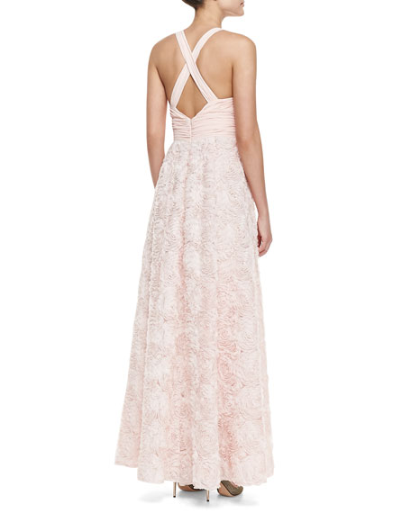 Sleeveless V-Neck Rosette-Skirt Gown, Blush