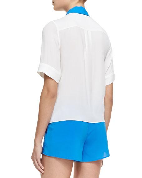 Jones Short-Sleeve Contrast-Trim Blouse