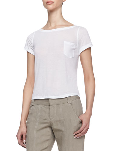 Alice + Olivia Rolled-Sleeve Front-Pocket Tee